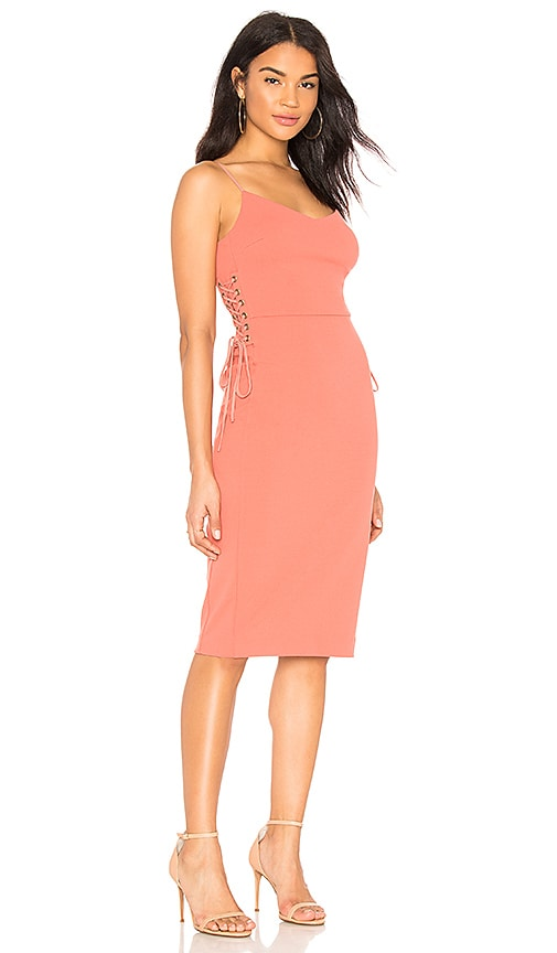 1. STATE Lace Up Slip Midi Dress in Coral