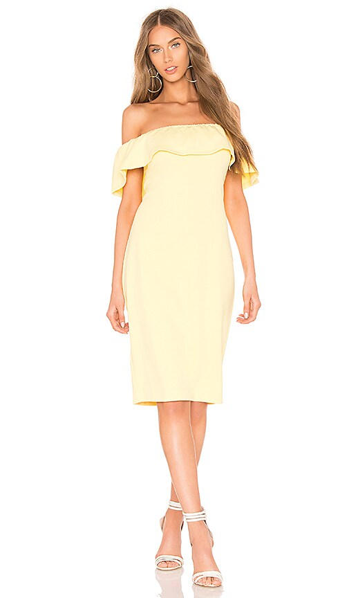 1. STATE Off Shoulder Midi Bodycon Dress in Yellow