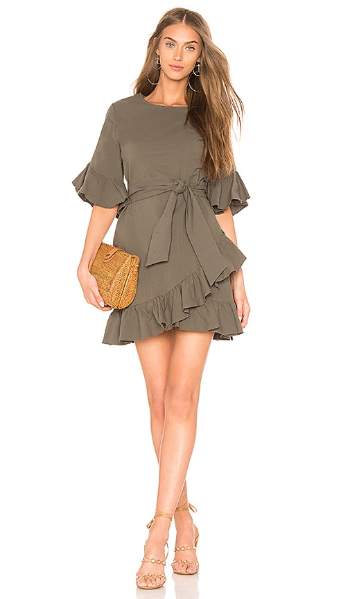 1. STATE Ruffle Edge Wrap Dress in Olive