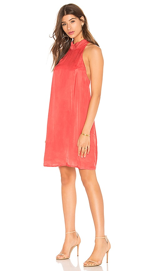 1. STATE Mock Neck Shift Dress in Red