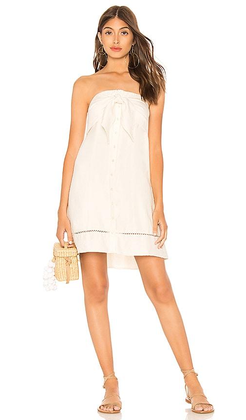 1. STATE Strapless Tie Front Button Down Dress in Cream