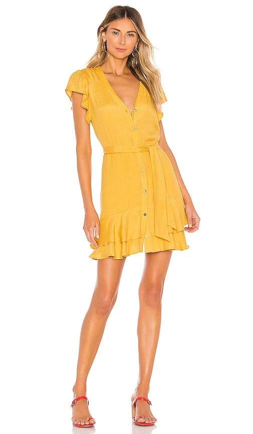 Button Down Asymmetrical Ruffle Dress