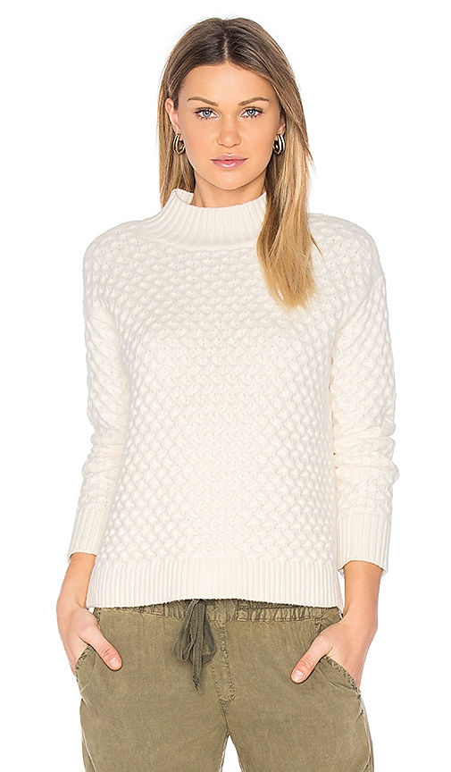 1. STATE Honeycomb Turtleneck Sweater in White