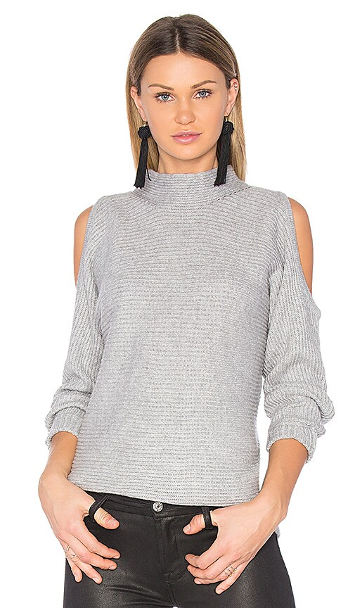 1. STATE Cold Shoulder Sweater in Gray