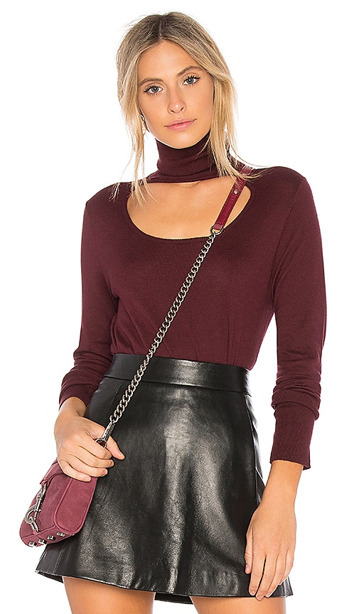 1. STATE Scoop Front Turtleneck Sweater in Wine