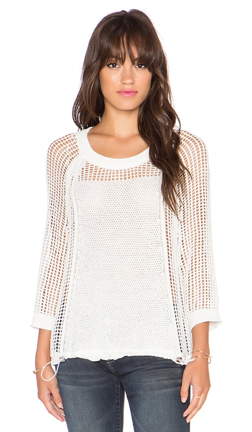 1. STATE 3/4 Sleeve Open Mesh Sweater in Cloud