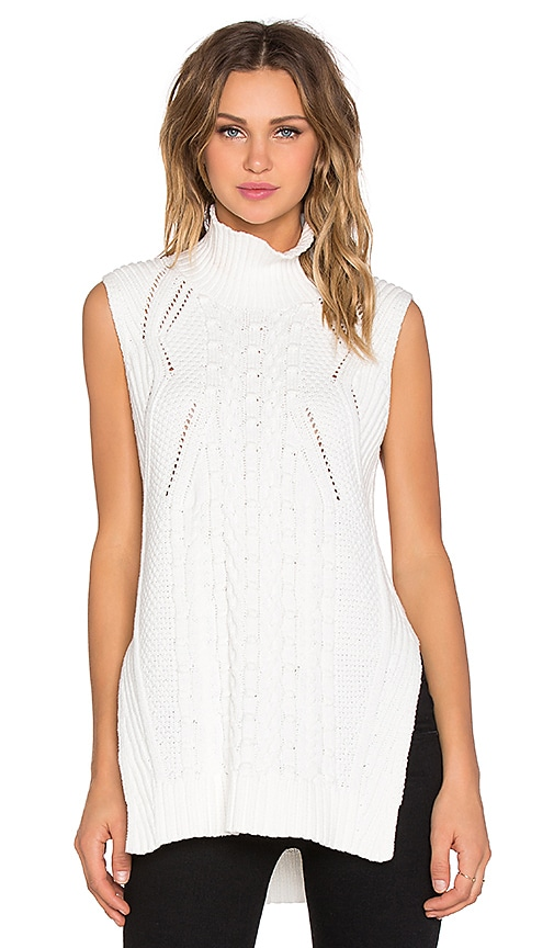 1. STATE Sleeveless Turtleneck Mixed Cable Sweater in Vanilla