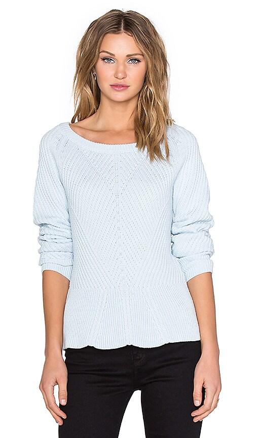 1. STATE Crewneck Diagonal Stitch Peplum Sweater in Whisper Blue