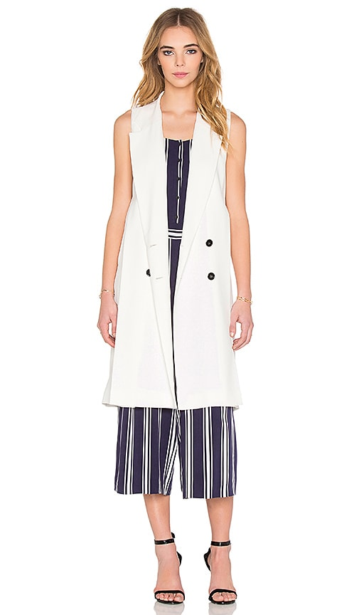 1. STATE Double Breasted Trench Vest in White