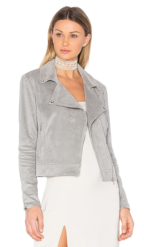 1. STATE Suede Moto Jacket in Gray