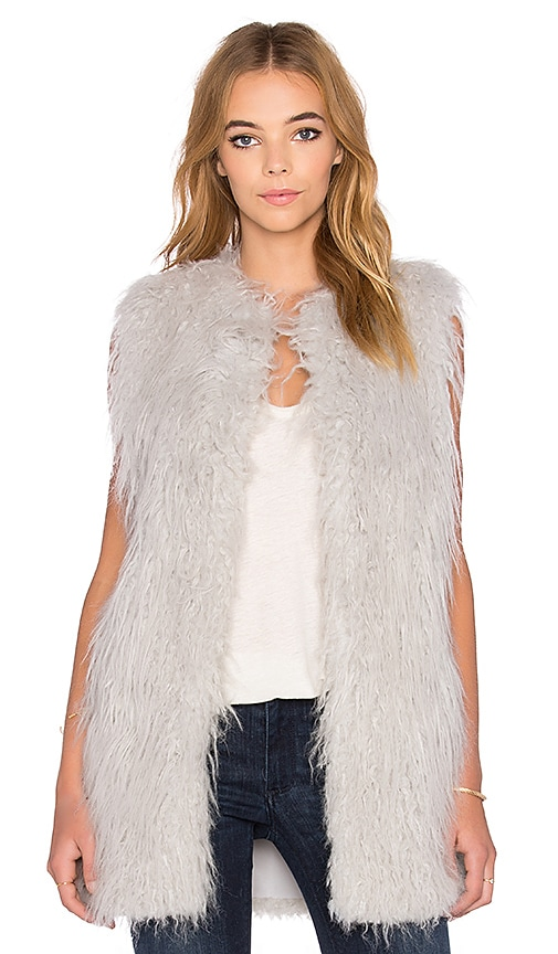 1. STATE Faux Fur Long Jacket Vest in Silver Smoke
