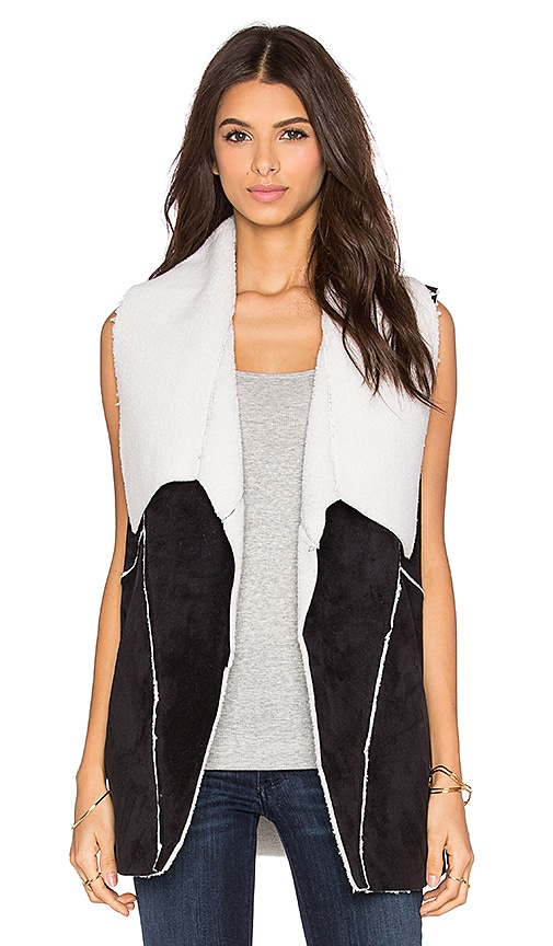 1. STATE Faux Shearling Vest in Rich Black