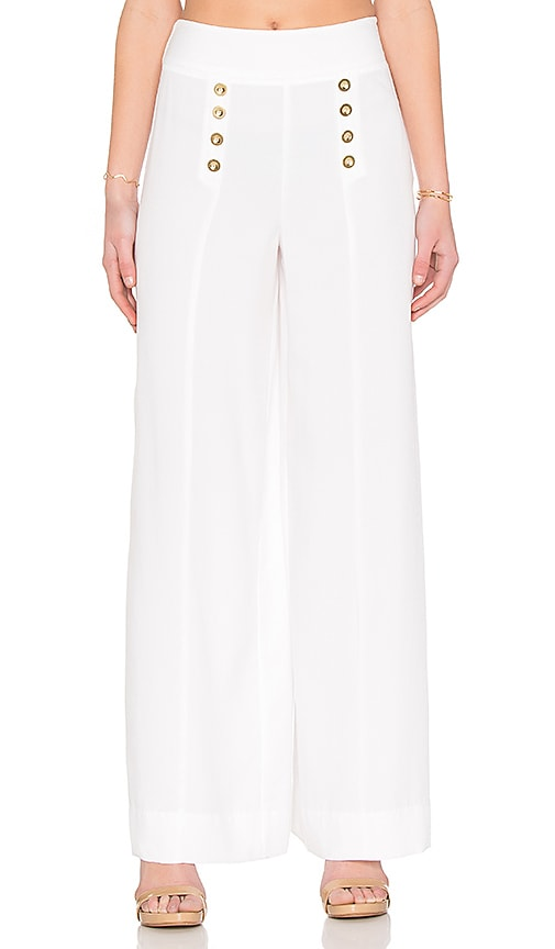 1. STATE Button Front Sailor Pant in White