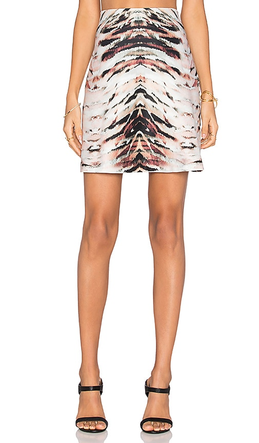 1. STATE Printed Scuba Circle Skirt in Rich Black