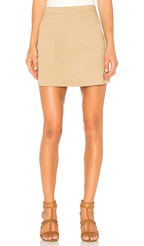 1. STATE Patch Pocket A-Line Skirt in Tan