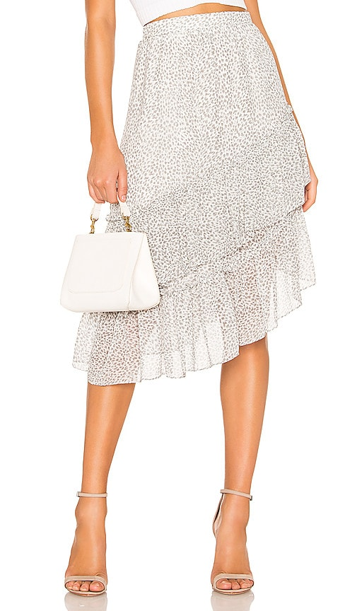 Tiered Asymmetrical Chiffon Midi Skirt