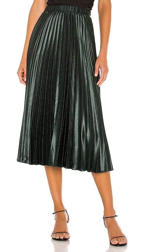 Matte Satin Pleated Midi Skirt