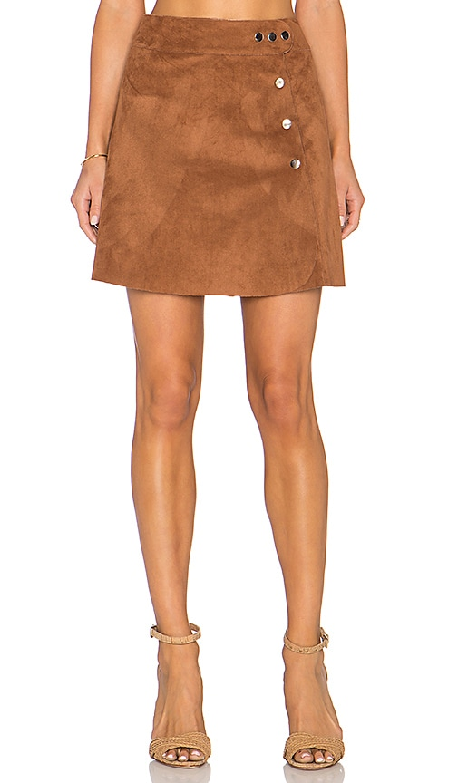Side Button A Line Mini Faux Suede Skirt