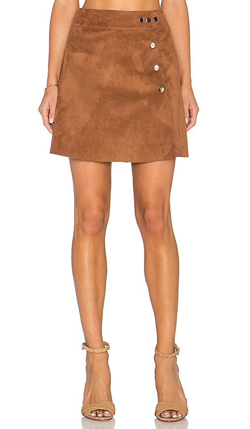 Side Button A Line Mini Faux Suede Skirt