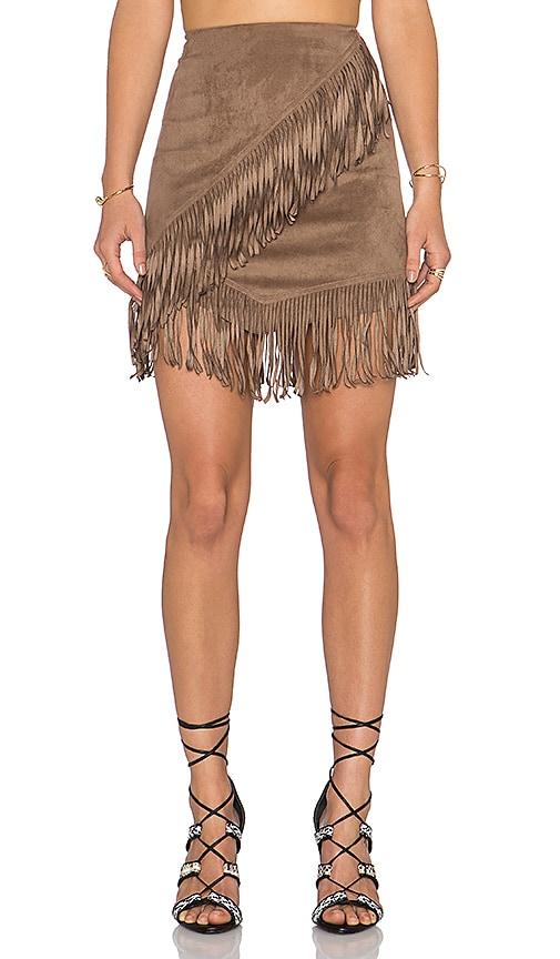 Fringe Wrap Faux Suede Mini Skirt