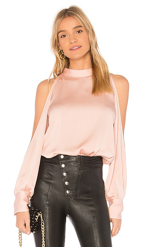 1. STATE Cold Shoulder Blouse in Pink