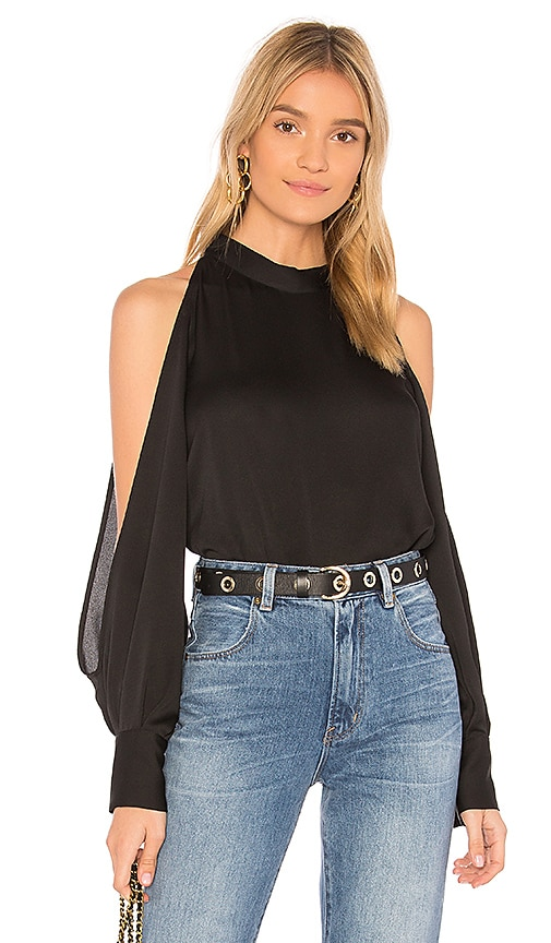 1. STATE Cold Shoulder Blouse in Black