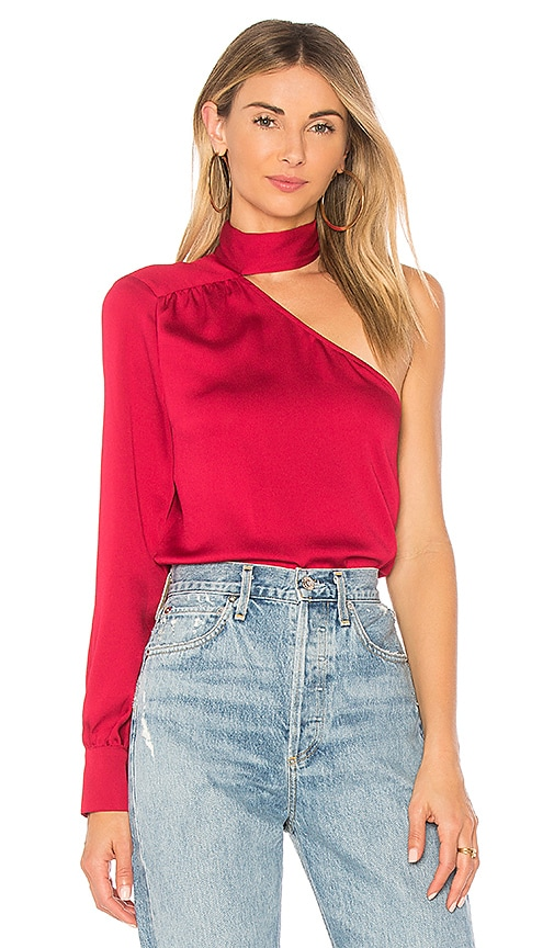 1. STATE Tie Neck Blouse in Red