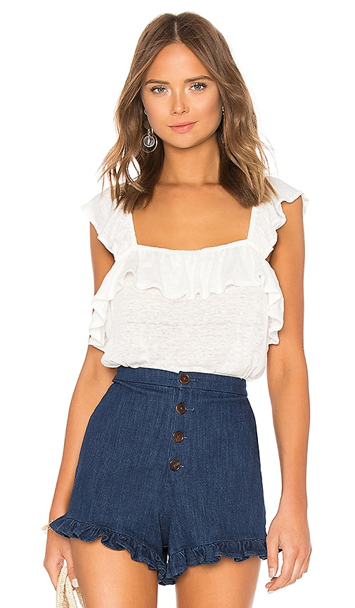 1. STATE Ruffled Edge Square Neck Ruffle Top in Ivory
