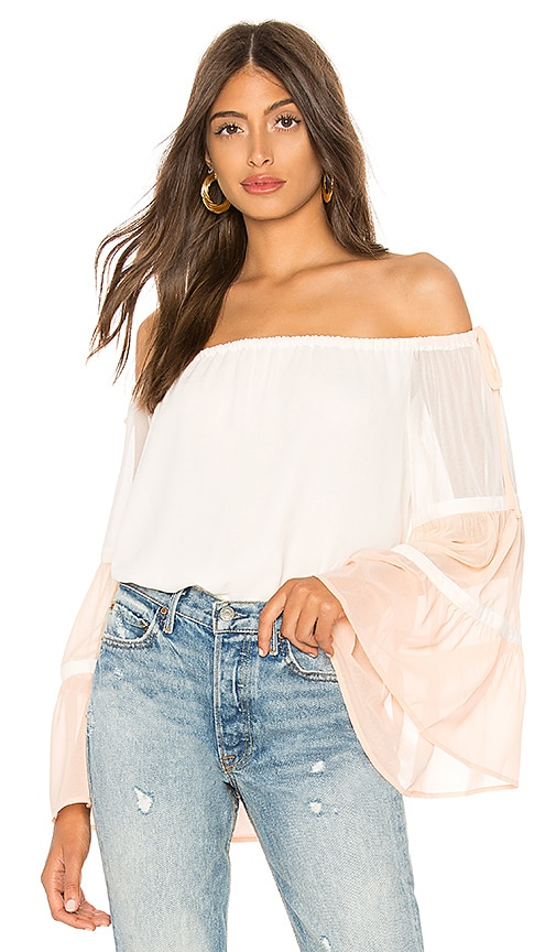 1. STATE Off Shoulder Colorblock Top in White