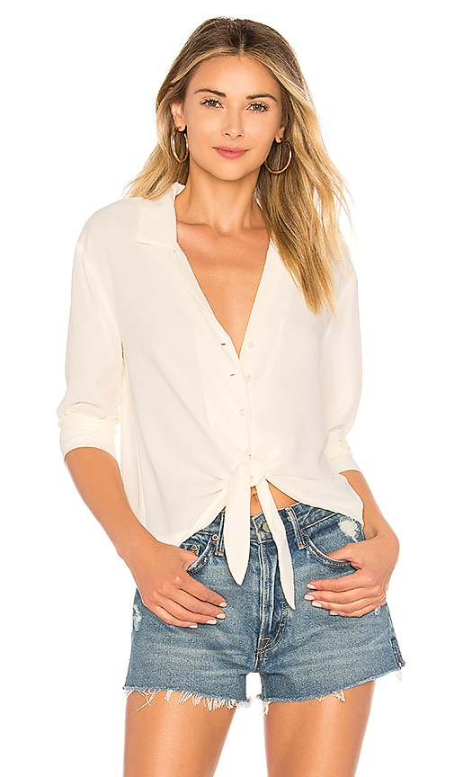 LS Button Down Tie Front Blouse