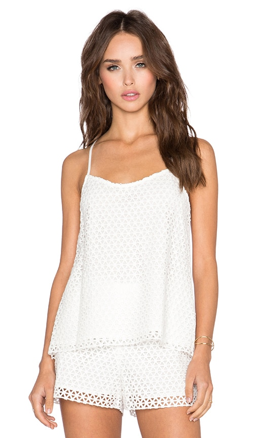 1. STATE Lace Overlay Halter Tank in Cloud