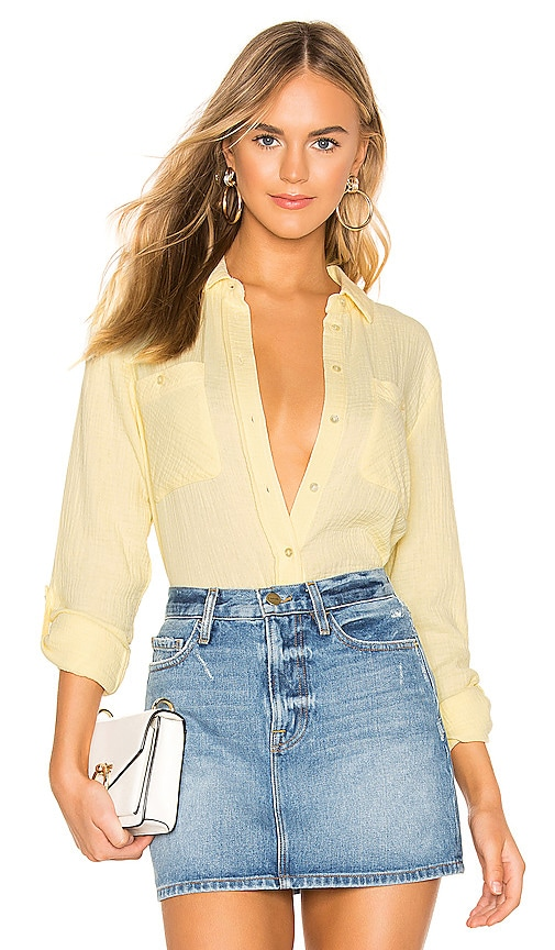 Patch Pocket Roll Tab Double Gauze Top
