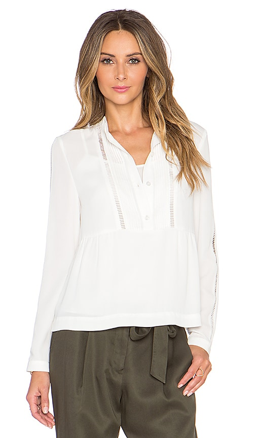 1. STATE Long Sleeve Pintuck Blouse in New Ivory