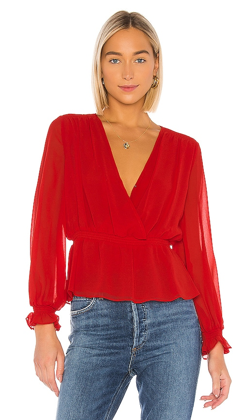 Cinched Waist Wrap Front Blouse