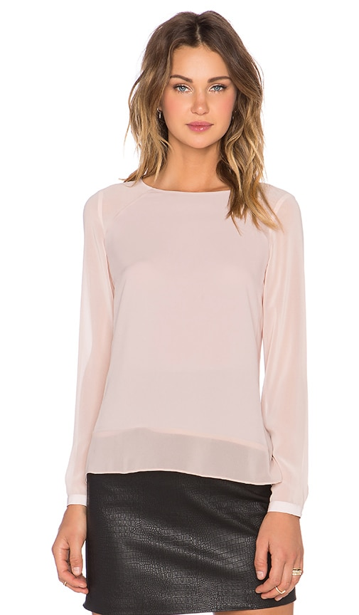 1. STATE Long Sleeve Sheer Shoulder & Hem Blouse in Blush Mist