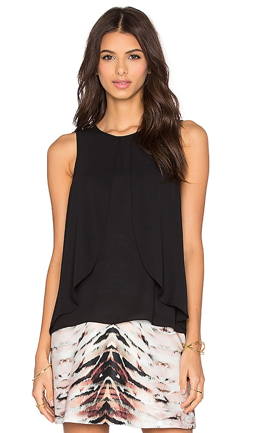 1. STATE V- Neck Double Layer Ruffle Blouse in Rich Black