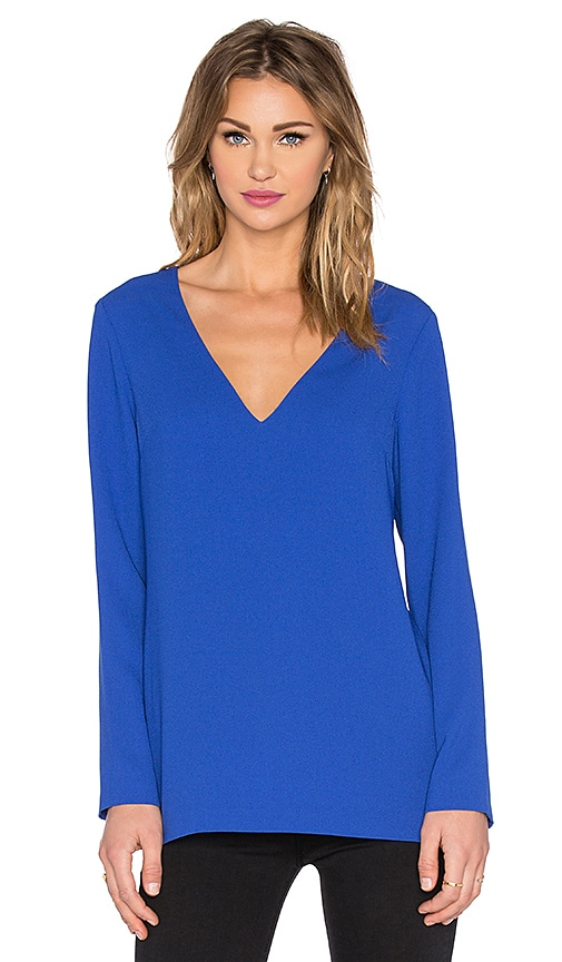 1. STATE Long Sleeve V Neck Top in Blue