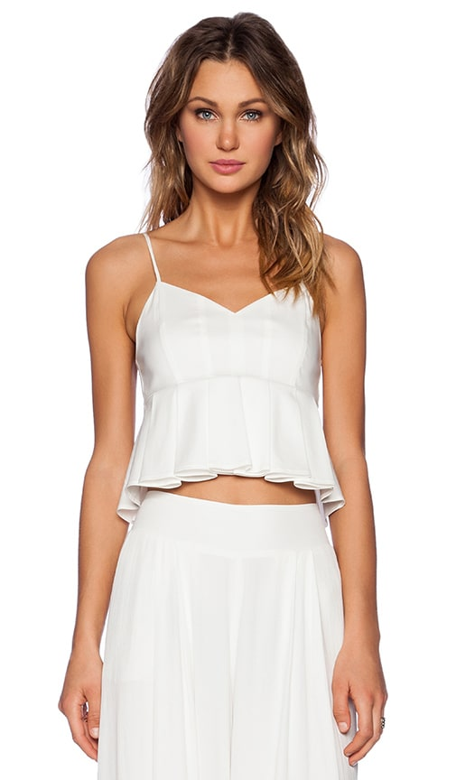 1. STATE Pleated Poplin Crop Top in Cloud