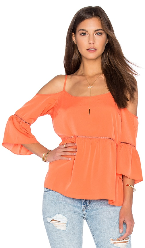 1. STATE Cold Shoulder Peasant Top in Orange