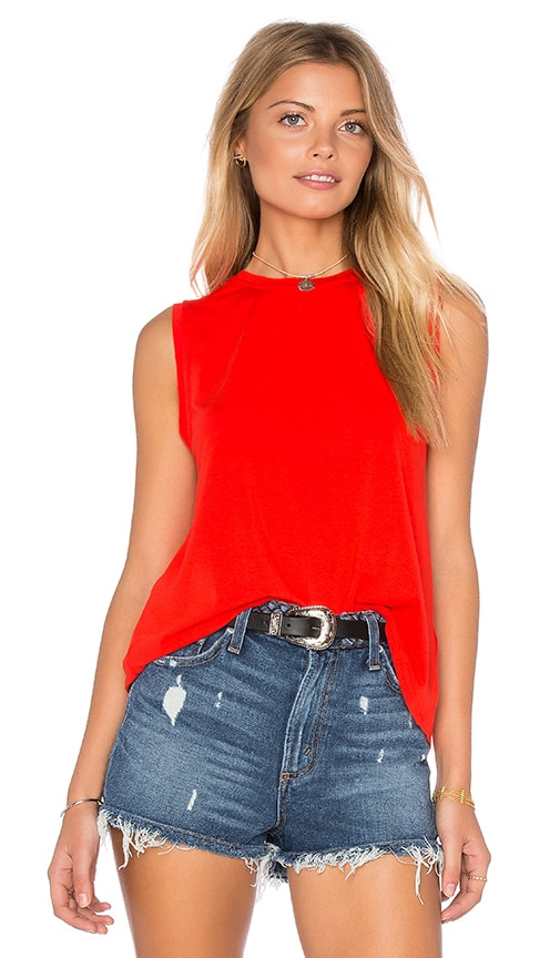 1. STATE Sleeveless Twist Back Tank in Flame