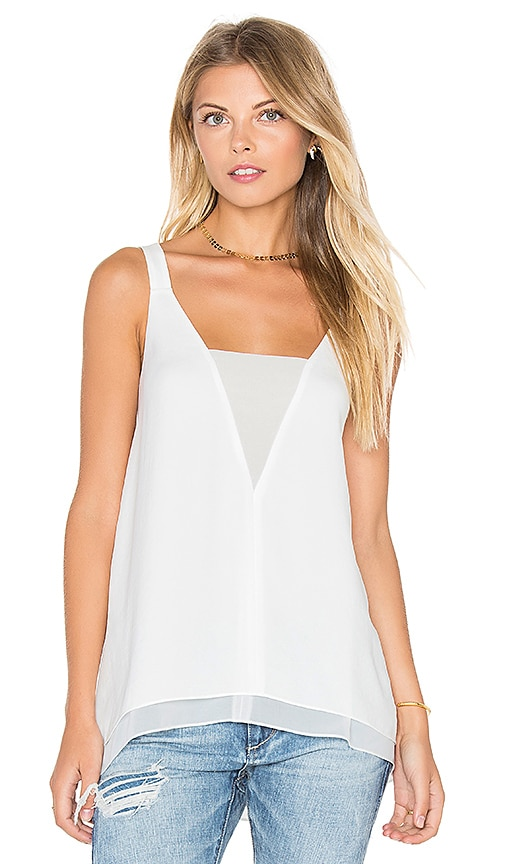 1. STATE Sleeveless Chiffon Inset Tank in White