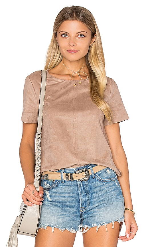 1. STATE Faux Suede Top in Brown