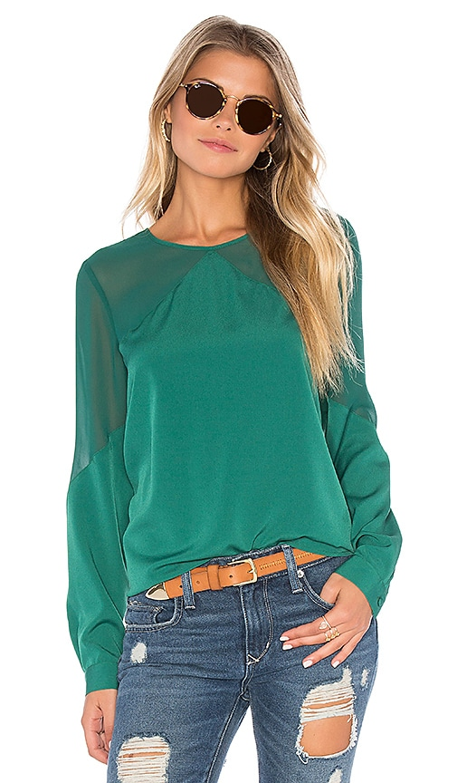1. STATE Long Sleeve Sheer Yoke Blouse in Emerald