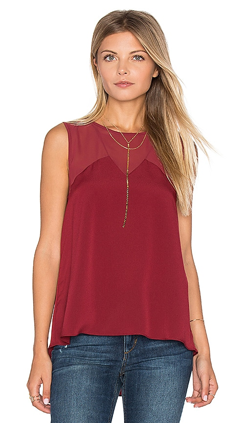 1. STATE V Neck Chiffon Inset Tank in Wine