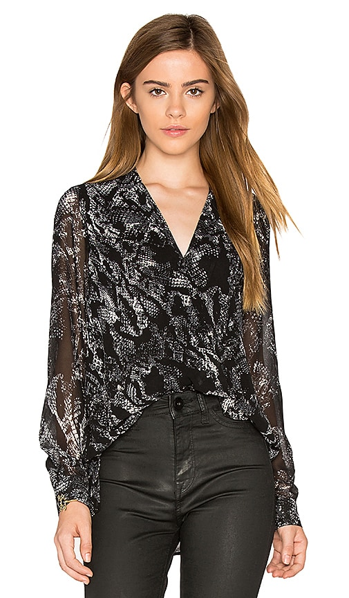 1. STATE Drape Front Blouse in Black