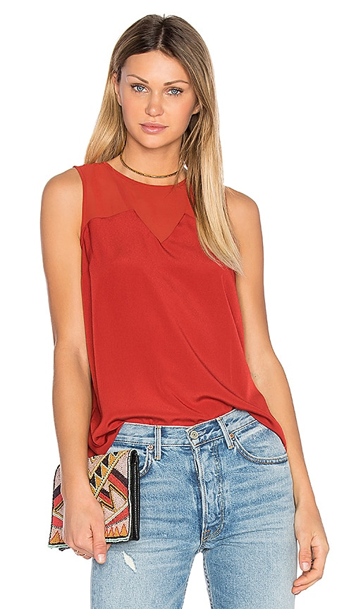 1. STATE Chiffon Insert Tank in Red