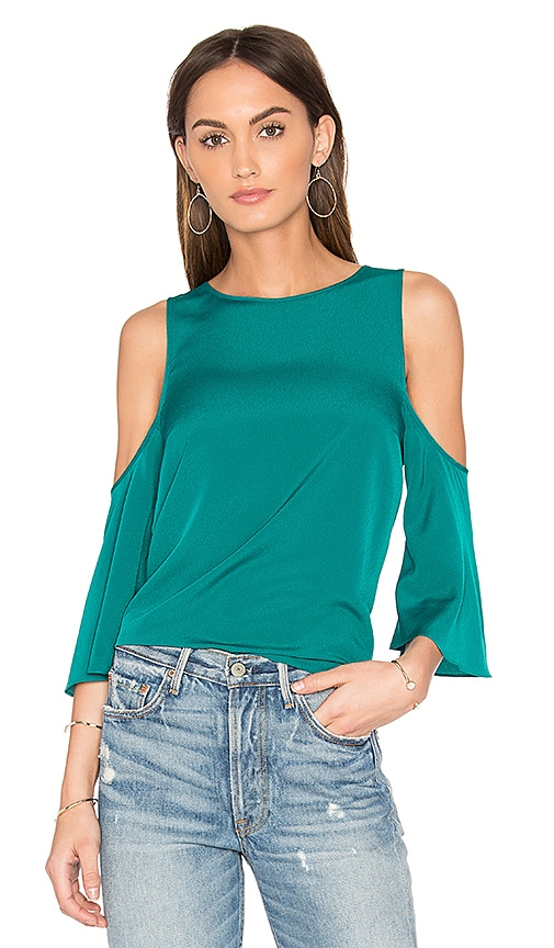 1. STATE Cold Shoulder Flounce Top in Green
