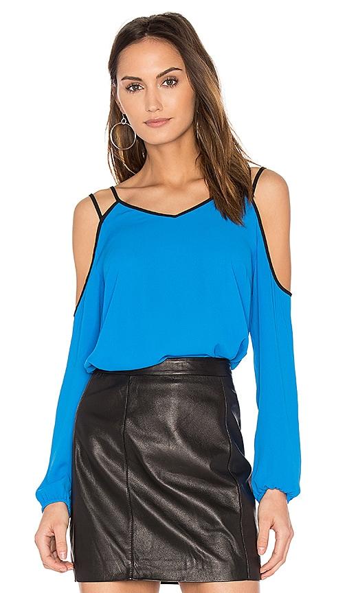 1. STATE Cold Shoulder Blouse in Blue