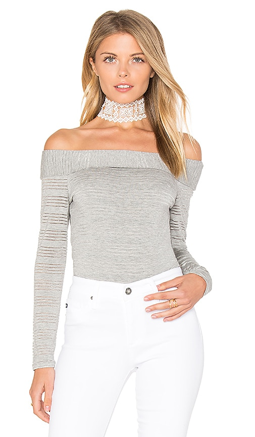1. STATE Off Shoulder Stripe Tee in Gray