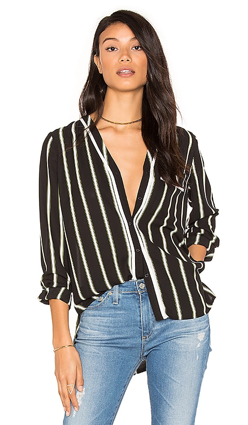 1. STATE High-Low Pocket Blouse in Black & White